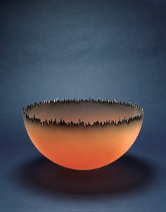 Jay Musler (b. 1949), | 'Cityscape' 1981.  Blown, cut, sandblasted and airbrushed oil paint #glass