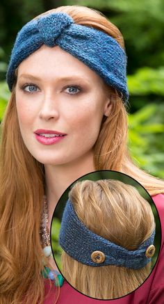 Free Knitting Pattern for Button Up Headband - Nancy Anderson's earwarmer is fastened with buttons so you can get the size you wan