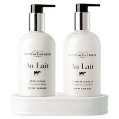 "Perfect for adding a spa-worthy touch to your powder room or wrapped as a gift for your favorite hostess, this hand care set is enriched with milk and shea butter. Made in Vermont.   Product: Handwash, hand lotion and stand Construction Material: Milk and shea butter Features: Made in Vermont  Dimensions: 1.5"" H x 1"" Diameter (bottle)"