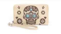 $34.99 Skull Western Concho Collection Wallet - Beige