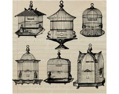 Vintage Birdcages, Digital Download Graphics Clip Art Set PNG Overlay Clipart for Transfers Prints Stickers Invitations Bags Clothing