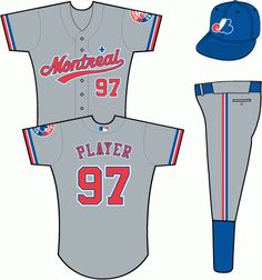 Montreal Expos Road Uniform (2000) - Montreal scripted with underscore in red with blue and white outlines, with fleur-de-lis above in blue with a white outline, on a grey uniform with red, white and blue sleeve ends (MLB batter logo added in 2000)