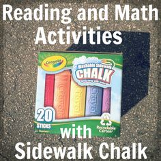 Sidewalk Chalk Games for Reading and Math - write letters or sight words in chalk and jump to them - draw a number line (ex start at 3, take 5 steps / 3+5=8) or write several numbers all around and throw beanbag or jump to even or odd numbers