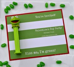 Kiss Me I'm Green Kermit The Frog Valentine's Day/St. Patrick's Day party invite