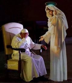 "The Pope and Our Lord. What a profound image! What grace Jesus is giving our Holy Father that he may have strength to shephard us. ""Jesus, we trust in You!"" Thank you."