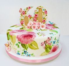 Reminds me of my Grandma's Curtains. I love he painted cake.