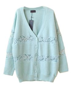V-Neck Cardigan with Lace Details