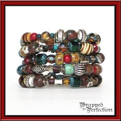 Boho Memory Wire Bracelet / Slinky Bracelet / Earth Colors / Tribal / Ethnic / Gypsy / Red Brown Aqua Teal Silver