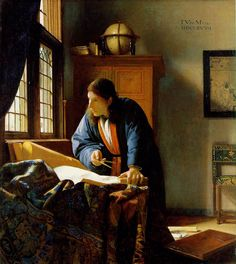 """The Geographer,"" by Johannes Vermeer, 1668-69, Oil on canvas, 53 x 46.6 cm, Stadelsches Kunstinstitut, Frankfurt, Germany"
