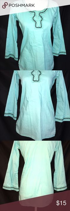 Light Blue Long Sleeves Tunic Shirt Casual Beach Light Blue Long Sleeves Tunic Shirt Casual Beach Summer Womans Top Tops