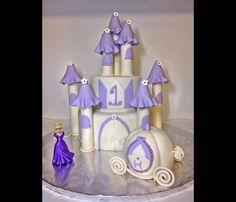 Cinderella princess castle birthday cake with princess carriage smash cake
