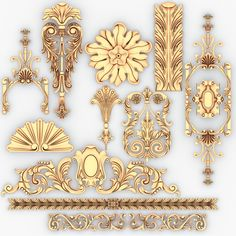 model: This model for classical decoration and other ornamental decor for interior and exterior. Could be usefull for interior decor, wall, fireplace and etc. Baroque Ornament, 3d Interior Design, Hanging Beds, 3d Modelle, Filigree Design, Colour Pallete, 3d Prints, Classic Interior, Architectural Elements