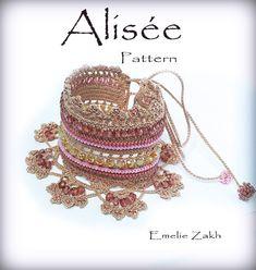 Pattern crochet beaded bracelet .Exclusive by Emeliebeads on Etsy