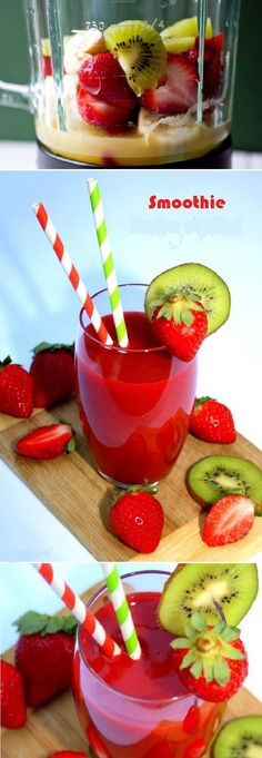 Strawberry and Kiwi Smoothie ! A snack or dessert vitamin and 100% FRUIT, Kiwi Strawberry smoothie good !!! It's fresh, sparkling, light and consumes without complex !!! I say with this little smoothie we are pleased even in diet !!!!