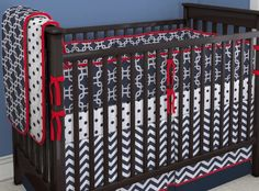 Crib Bedding Set Red White Navy Blue via Etsy;gorgeous Designs!