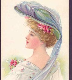 MAUD-HUMPHREY-LOVELY-LADY-WEARS-VINTAGE-HAT-CLOTHING-FASHION-ROSES-POSTCARD