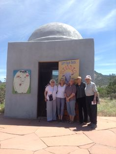June 3rd opening day with delightful first visitors from Colorado & Wyoming posing with Lori outside the Dome at Los Silvestres.