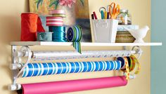 Keep your wrapping paper organized with this DIY shelf.