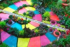 colorful garden path for kids: Sensory Garden Ideas Herb Garden, Garden Paths, Spiral Garden, Kid Garden, Garden Paving, Herb Spiral, Reading Garden, Garden Steps, Easy Garden