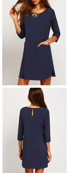 Navy Concert Half Sleeve Pockets Dress- love that it has pockets and styles - SheIn.com