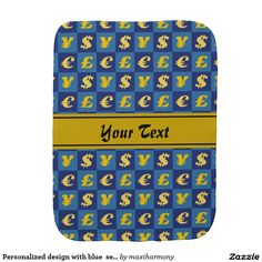 Personalized design with blue  seamless money sign burp cloth