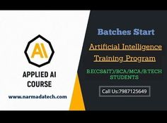 Artificial Intelligence Course and Training... As part of the training, you will master the various aspects of artificial neural networks, supervised and unsupervised learning, logistic regression with a neural network mindset. IT Training/ Courses- Narmadatech IT Training Solutions Call us on 7987125649, 6260330387 #programminglanguage #appdevelopment #softwarecompany #advanced #java #certification #python #technologies #artificialintelligence #digitalmarketing #machinelearning…