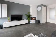 Tile floor living room, CROWN floors set in Stonecrown Living Room Grey, Living Room Modern, Living Room Interior, Living Room Designs, Living Room Decor, Living Spaces, Moving House, Minimalist Home, Room Colors