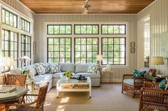 Prout's Neck - Beach Style - Sunroom - Portland Maine - by Leandra Fremont-Smith Interiors Maine Cottage, Maine House, Sunroom Windows, Three Season Porch, Wooden Closet, Home Decor Inspiration, Daily Inspiration, Architecture Details, Architecture Art