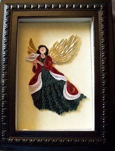 Another quilled Christmas angel.  I love the colors of this one.