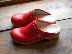 Red swedish clogs