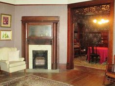 white surround on 1906 fireplace