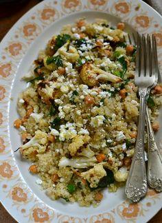 cauliflower recipe, quinoa recipes, quinoa salad, recipe chickpeas, salad