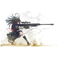 Girls with Guns ❤ liked on Polyvore featuring anime, drawings, anime girls, manga and filler