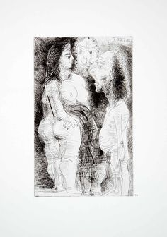 1970 Heliogravure Pablo Picasso Nude Figures Male Female Abstract Art P347A