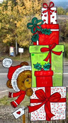 WICOART WINDOW COLOR STICKER STATIC CLING OOAK NOEL CHRISTMAS CADEAUX OURSON