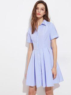 #MakeMeChic - #MAKEMECHIC Roll Tab Cuffed Sleeve Box Pleated Shirt Dress - AdoreWe.com