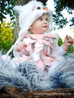 Cute Baby Owl Costume - love the colors of this one.  Seen several style of DIY owl costumes (cape, hoodie, dress) Hat or Hoodie for owl face.
