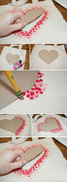 DIY Tote Bag - Make This Fabulous Heart Tote Bag with a Pencil!, DIY Tote Bag - Make This Fabulous Heart Tote Bag with a Pencil! Easy DIY Tote bag from Clumsy Crafter for Valentine& day. Unique Valentines Day Gifts, Valentine Day Crafts, Be My Valentine, Holiday Crafts, Fun Crafts, Diy And Crafts, Paper Crafts, Kids Valentines, Valentine's Day Crafts For Kids