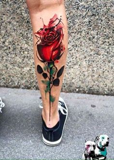 Red Rose Calf Tattoo