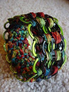 Lime green pull tab cuff bracelet. pretty