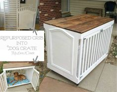 A dog crate made from a crib or playpen. Clever idea. The only problem I see is that if your dog is young and chews a lot you might want to wait until they mature. Some dogs chew later in life as well so I guess the practicality of this depends on your pet.