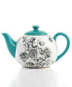 Certified International Drinkware, Toile Teapot I want it in either scarlet, blue, or maybe even the green! Chocolate Pots, Chocolate Coffee, Cuppa Tea, Teapots And Cups, My Cup Of Tea, Drinkware, Cup And Saucer, Tea Time, Tea Party