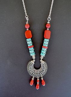 Tribal Necklace Turquoise and Coral Blue and Red by LKArtChic