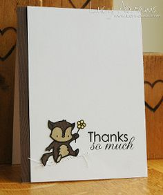 Cute Critter Clean and Simple Card   AllFreePaperCrafts.com