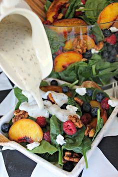 grilled peach and berry salad with homemade creamy poppyseed dressing