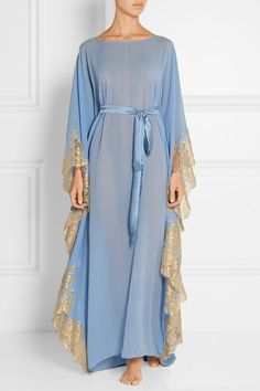 Rosamosario - Turks and Caicos lace-trimmed silk-georgette kaftan Dubai Fashion, Abaya Fashion, Muslim Fashion, Modest Fashion, Hijab Style, Abaya Style, Mode Abaya, Hippy Chic, African Dress