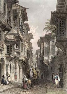 An poster sized print, approx (other products available) - A man leads his donkey and camels along a narrow street in Izmir. Date: century - Image supplied by Mary Evans Prints Online - Poster printed in the USA Cultural Architecture, Islamic Architecture, Fine Art Prints, Canvas Prints, Framed Prints, Pics Art, Turkish Art, Camels, Landscape Illustration