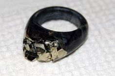 Carved stone ring: Iron Pyrite on Picasso Jasper