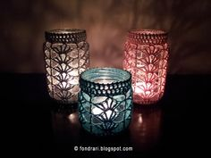 Crocheted Mason Jar Tea Light Holders - free pattern over at fondrari