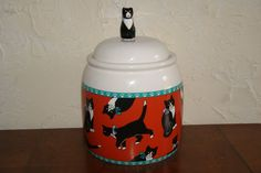 Collectible TREASURECRAFT Ceramic Cookie Jar With Cat Design 2000s